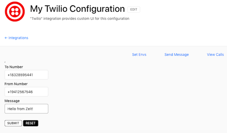 Twilio Zeit Integration